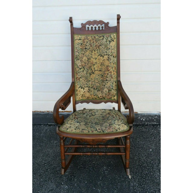 Wood 19th Century Victorian Carved Side Rocking Chair For Sale - Image 7 of 11