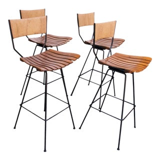 Set of Four Rush and Iron Swiveling Bar Stools by Arthur Umanoff For Sale