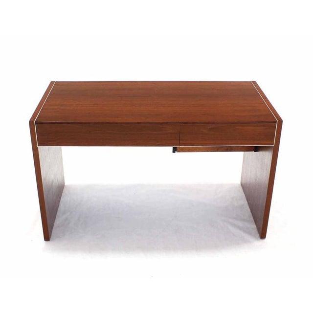 Hidden File Drawer Glenn California Mid Century Modern Walnut Writing Table Desk For Sale - Image 9 of 9