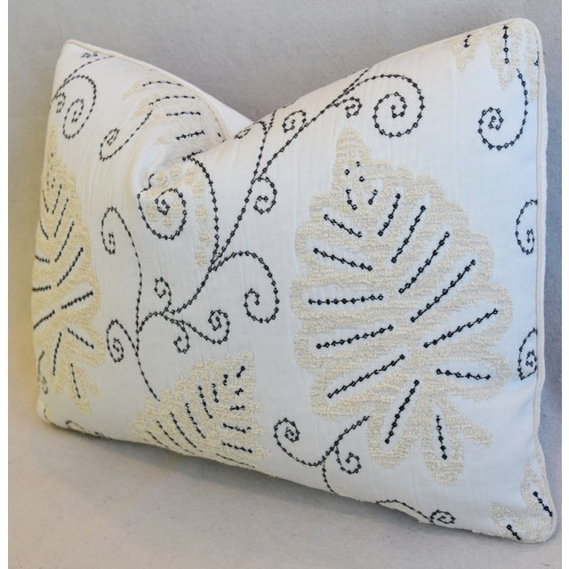 """Early 21st Century Scalamandre Embroidered Fern Wood Feather/Down Pillow 22"""" X 16"""" For Sale - Image 5 of 8"""