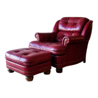 Hancock & Moore Red Full-Grain Leather Austin Armchair and Ottoman For Sale