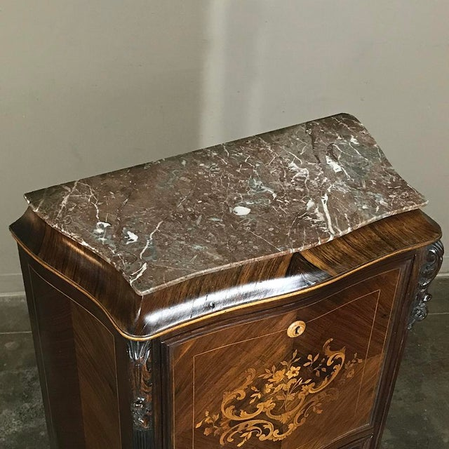 19th Century French Parisienne Rosewood Marble Top Drop-Front Secretary For Sale In Dallas - Image 6 of 13