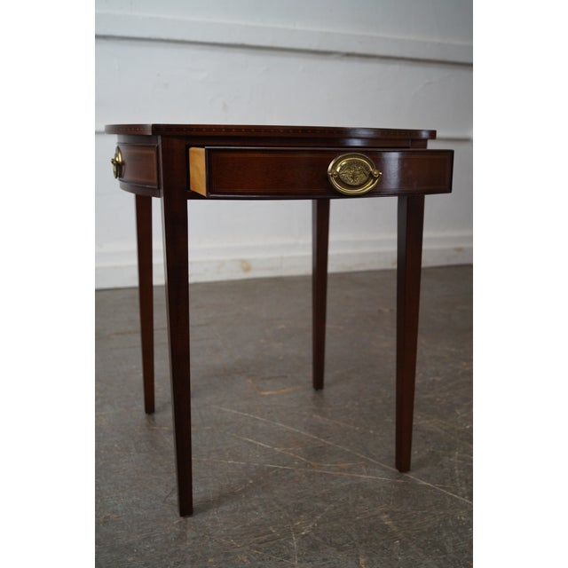 Kindel Winterthur Collection Mahogany Inlaid Hepplewhite Style Occasional Table (A) For Sale - Image 10 of 11