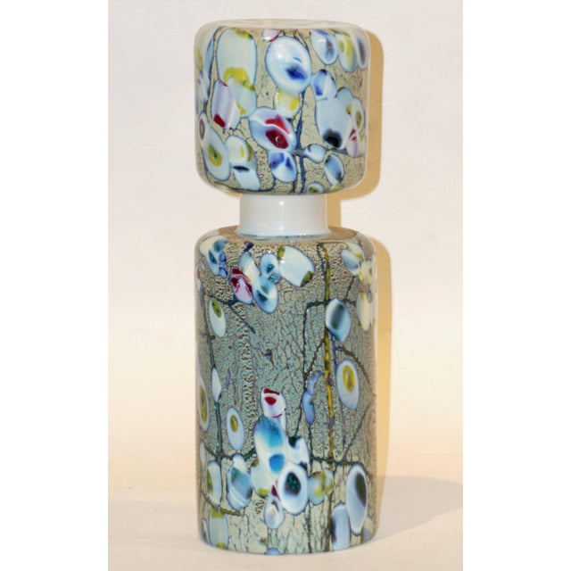 Pino Signoretto 1980s Silver Green Blue Yellow Red Murano Glass Bottles - A Pair For Sale In New York - Image 6 of 13