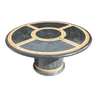 1970s Maitland Smith Art Deco Tessellated Stone Round Dining Table For Sale
