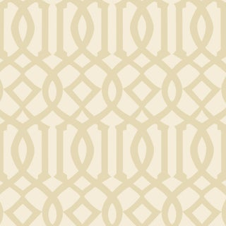 Sample - Schumacher Imperial Trellis II Wallpaper in Sand/Ivory For Sale
