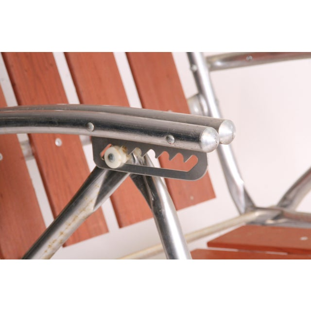 Mid Century Redwood Aluminum Folding Chaise Lounge Chair For Sale - Image 6 of 11
