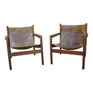 Mid-Century Modern Michel Arnoult Roxinho and Leather Sling Chairs - a Pair