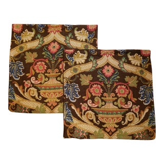 Clarence House Botanical Linen Pillow Pair For Sale