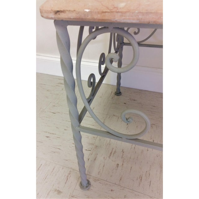 Vintage French Iron & Marble Top Coffee Table - Image 7 of 9