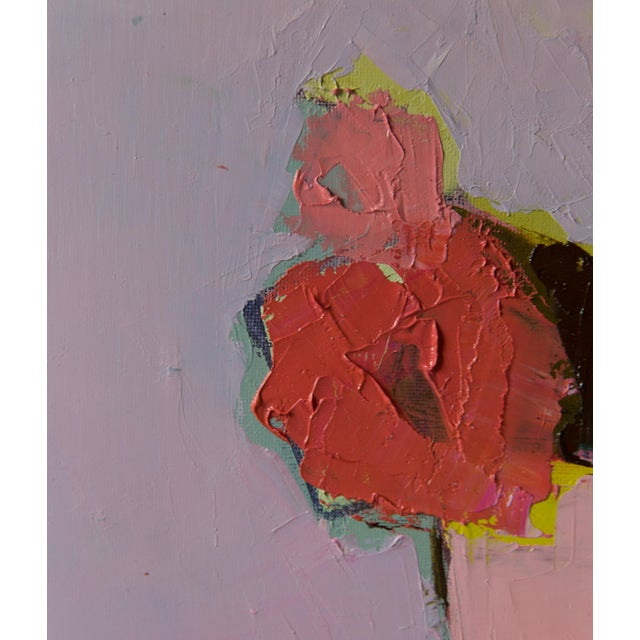 """Bill Tansey """"Five Flowers"""" Abstract Floral Painting Oil on Canvas For Sale - Image 4 of 4"""