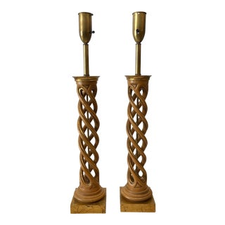 James Mont Helix Gilt Wood Table Lamps - a Pair For Sale