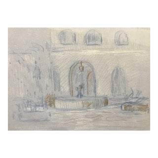 New Orleans Courtyard Drawing by Hildegard Hamilton For Sale