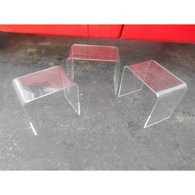 Vintage 3pc Clear Acrylic Stacking Nesting Table set. These tables can be used as End / Side or Accent Tables. They are...