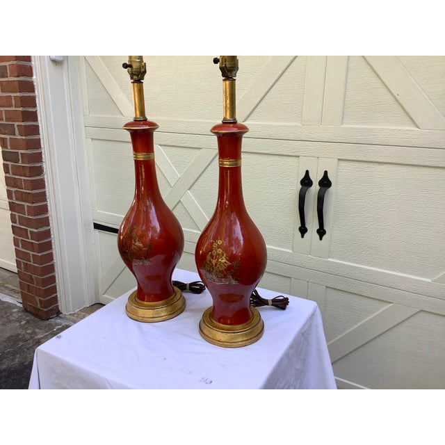 Beautiful coloration, in this pair of Asian style lamps, by Frederick cooper. Lovely burnt orange, gourd shape , lamps...