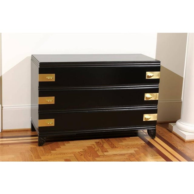 1930s Gorgeous Restored Three-Drawer Chest by Widdicomb in Black Lacquer For Sale - Image 5 of 11