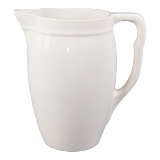 Antique Belgian White Ironstone Pitcher For Sale