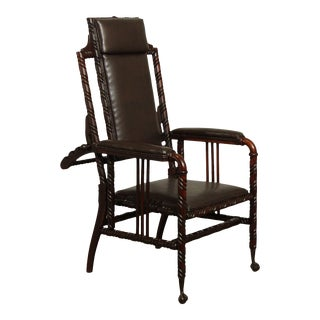 Hunzinger Antique Victorian Gothic Period Reclining Morris Chair For Sale
