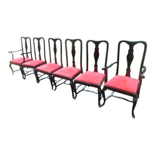 1970s Art Nouveau Pietro Costantini Sculptural Black Lacquer & Red Suede Dining Chairs - Set of 6 For Sale