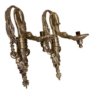 1920s French Empire Silver Sconces - a Pair For Sale