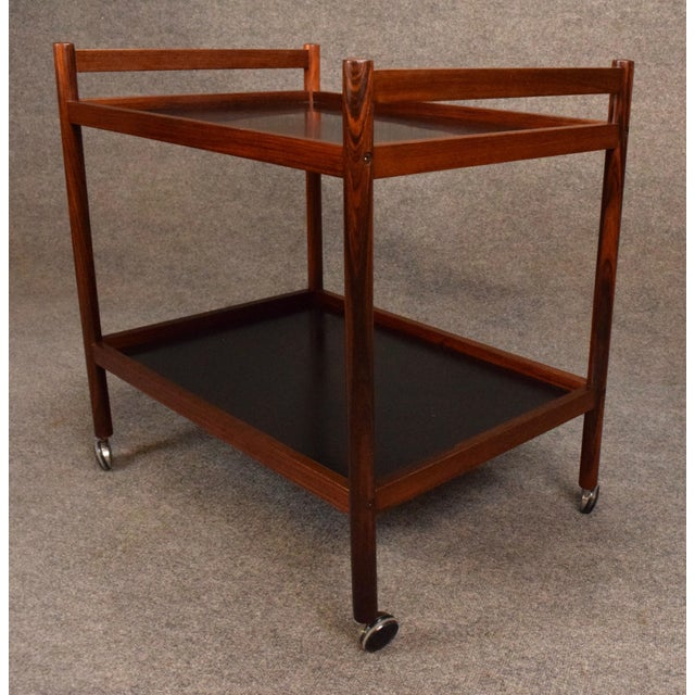 1960s Danish Modern Rosewood Cocktail Bar Cart For Sale - Image 4 of 8