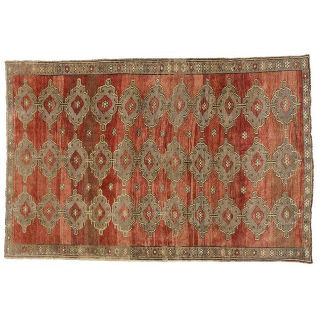 Modern Traditional Vintage Turkish Oushak Rug With Jacobean Style, 07'06 X 11'04 For Sale - Image 9 of 10