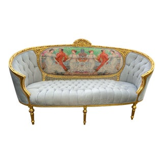 1900's French Louis XVI Green Cartouche and Gold Frame Sofa For Sale