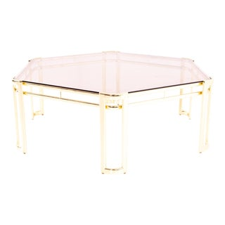 Morex Mid Century Octagonal Smoked Glass and Brass Coffee Table For Sale