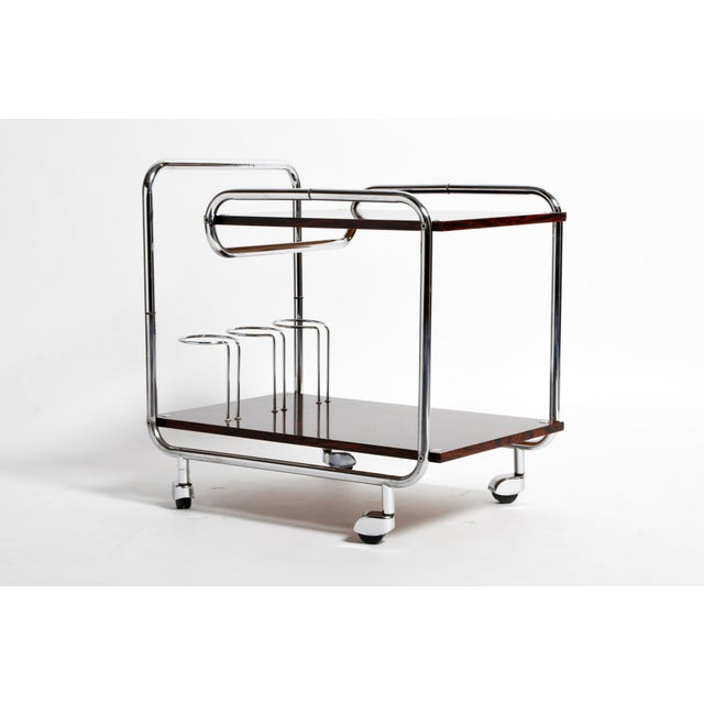 1960s Mid-Century Modern Hungarian Chrome and Rosewood Bar Cart For Sale - Image 5 of 13