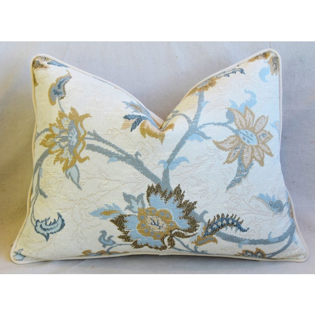 """Early 21st Century Designer Italian Floral Linen Velvet Feather/Down Pillows 24"""" X 18"""" - Pair For Sale - Image 5 of 13"""