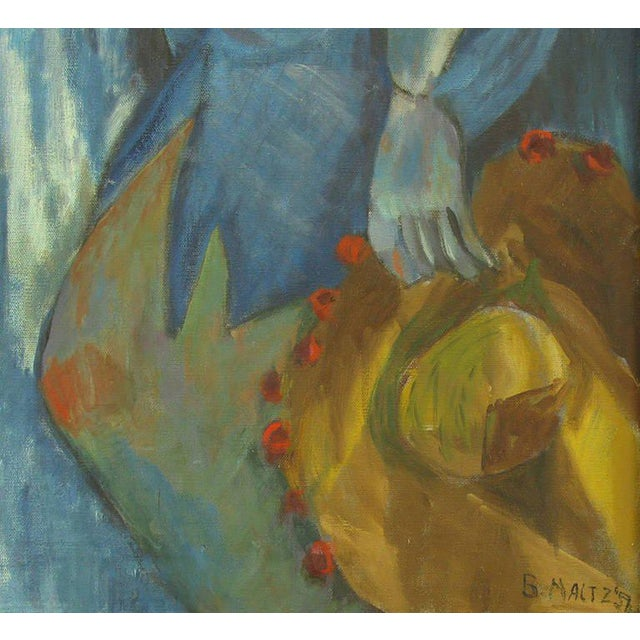 Blue Woman with Hat Oil on Canvas by B. Maltz For Sale - Image 4 of 5