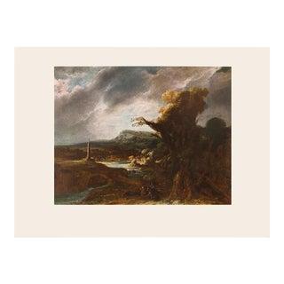 """1950s Rembrandt Van Rijn - Govaert Flinck """"Landscape With an Obelisk"""" First Edition Vintage Lithograph For Sale"""
