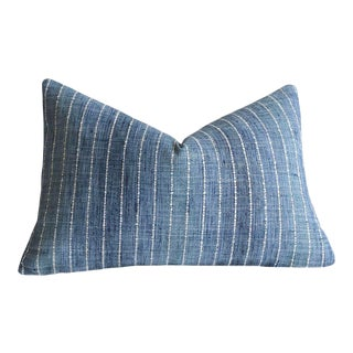 12x18 Ombré Blue Pinstripe Lumbar Pillow Cover For Sale