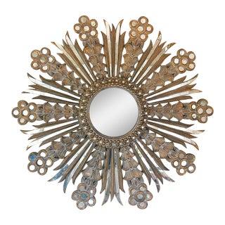 1960s VintageWooden Carved Detailed Aged Sunburst Mirror For Sale