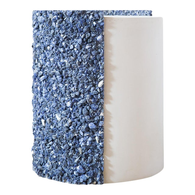 Hand Made Blue Sodalite and White Plaster Drum, Side Table by Samuel Amoia For Sale