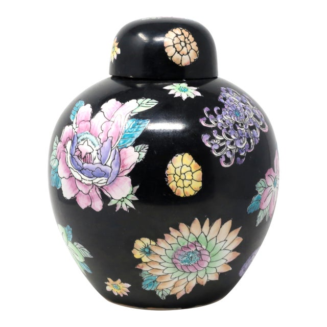 Black Hand-Painted Melon Jar With Flowers For Sale