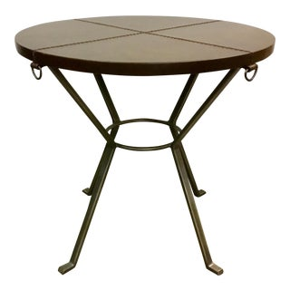 Modern Bernhardt Leather End Table For Sale