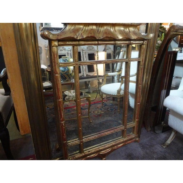 Gold Italian Giltwood Chinese Chippendale Style or Chinoiserie Pagoda Mirror For Sale - Image 8 of 12