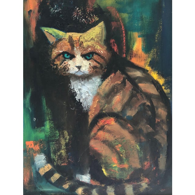 The Angry Cat Original Oil on Board C.1940s Angry but Fabulous vintage oil painting from the 1940s. No visible signature....