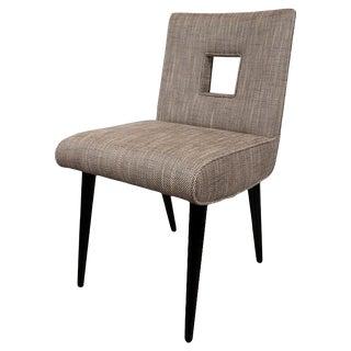 Mid-Century Modern Cutout Desk/Side Chair in Ebonized Walnut & Holly Hunt Fabric For Sale