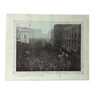 """1906 """"A Political Demostration on the Way to Hyde Park"""" Famous View of London Print For Sale"""