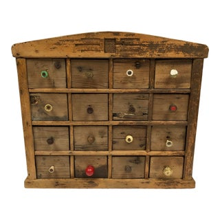 1910s Vintage Primitive Scandinavian Spice Cabinet With Mis-Matched Knobs For Sale
