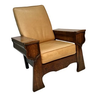 Oak Reclining Morris Chair With Hinged Compartments For Sale