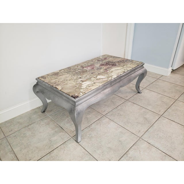 Queen Anne Burnished Silver Wood Coffee Table For Sale - Image 10 of 10
