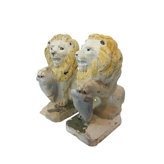 Yellow Painted Concrete Garden Lion Statues - a Pair For Sale - Image 8 of 9