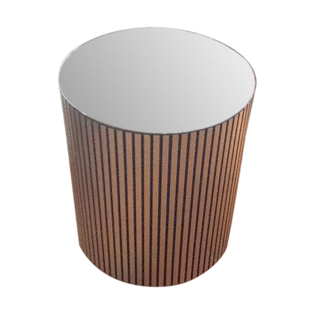 Vintage Gold Cylindrical Mirrored-Top Side Table - Image 1 of 7