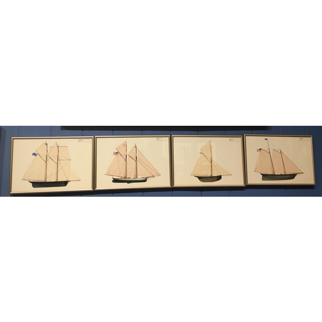 1970s Americas Cup Winners Nautical Chromolithographs, Framed - Set of 4 For Sale - Image 4 of 4