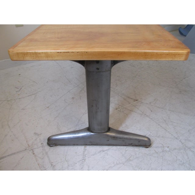 Vintage Institutional Style Maple & Steel Coffee Table - Image 5 of 10