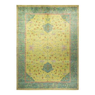 """Oushak, One-Of-A-Kind Hand-Knotted Area Rug - Green, 10' 2"""" X 13' 9"""" For Sale"""