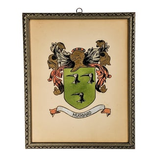 Vintage Watercolor on Paper of Crest With Wood Frame For Sale